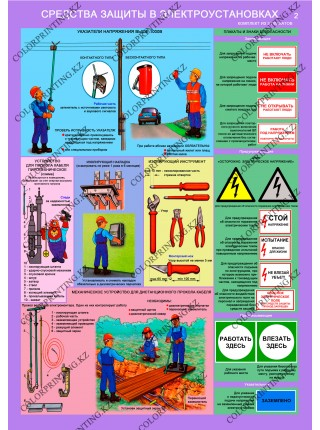 Средства защиты в электроустановках комплект из 3 плакатов