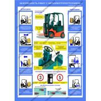Безопасность работ с автопогрузчиком комплект из 2 плакатов